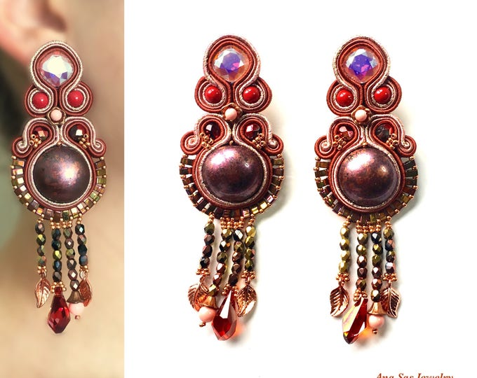 Statement cooper soutache earrings