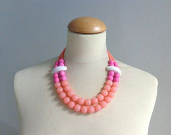 Pink white chunky necklace, modern tribal statement necklace, multi strand, summer necklace
