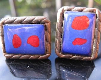 Retro blue and red enamel cufflinks