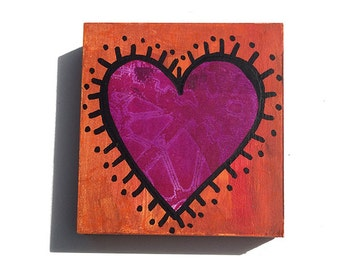Little Heart Painting - Mixed Media Collage Art - Anniversary, Wedding or Valentine's Day Gift - Magenta and Orange, Love, Small Acrylic