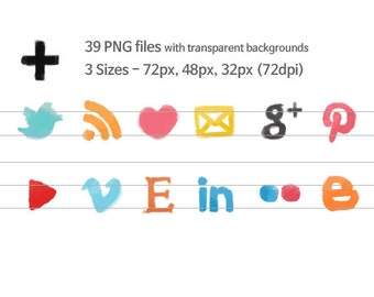 Watercolor Social Media Icons Set - Blog and Web design graphic icons Logo Button PNG - INSTANT DOWNLOAD