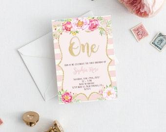One Birthday Invitation, Printable One Birthday Invitation, Birthday Invitation, Pink One Invitation, Pink Invitation,