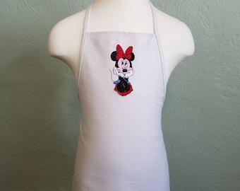White Childrens Minnie Mouse Apron