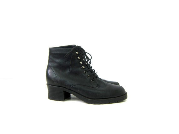 80s Black Leather Boots Tall Vintage Granny Booties Leather Lace Up Ankle Boots Eyelet Grunge Boots Womens size 6.5