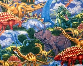 "Fabric Only Listing - Dinosaur Fleece Fabric - Make Your Own No-Sew Blanket 55"" x 56""-Triceratops Stegosaurus Tyrannosaurus Velociraptor"