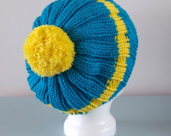 Blue Beanie Hat - Yellow Stripe Knitted Slouchy Pom Pom Chunky Merino Wool Unisex Winter Accessory Gift for Him or Her by Emma Dickie Design