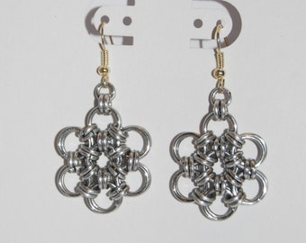 Japanese 12-in-2 Flower Weave Chainmaille Earrings