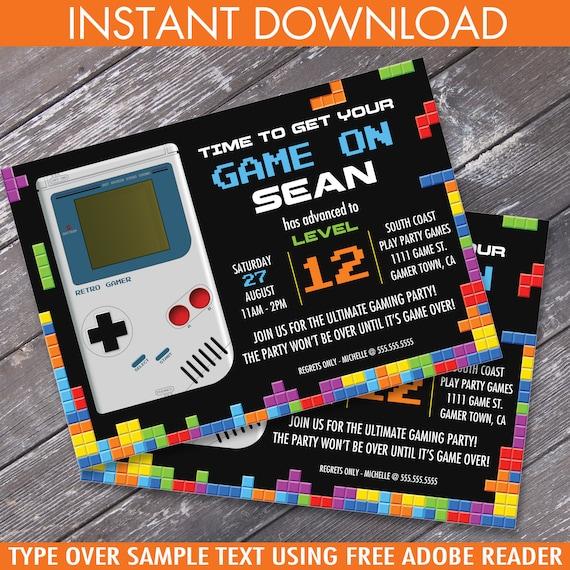 Video game birthday party invitation game boytetris stopboris Images
