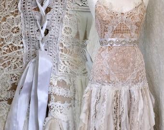 Boho wedding dress tattered ,bridal gown tattered,pagan wedding dress,wedding dress RawRags,wedding dress crochet,fairy wedding,antique lace