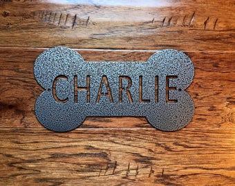 Dog Name Plate  /    Dog Bone Sign  /  Giant Dog Name Tag  /  Dog Memorial Plaque  /  Dog Food Bowl Name Plate