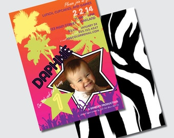 Rock Star Birthday Party Invitations with Stars Crowd Palm Trees Ombre Zebra 80s Vibe - DESIGN FEE
