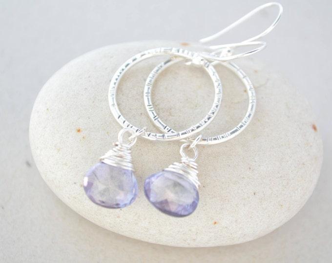 December birthstone earrings, Tanzanite birthstone earrings, Silver earrings, Circle earrings, Gemstone earrings, Tanzanite birthstone