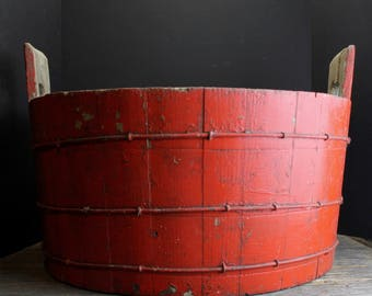 Primitive Rustic Large Red Wood Basin // Large Red Wood Bucket // Half Barrell // Aged Patina // Wire Banding // Rustic Farm House