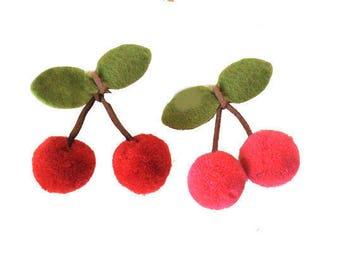 Cherry Pom Pom Appliques