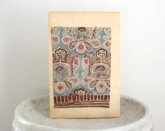 Large Vintage Woodblock Print Paisley Textile Design Published in Japan c. 1941 9 1/2 x 14 inches