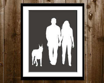 Custom Couple and Pets Silhouette Portrait, Custom Christmas Gift, Silhouette Art Print, Pets Custom Silhouette Portrait from your Photo