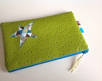 clutch faux ostrich leather green star has triangle pattern