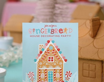 Gingerbread House Decorating Party 5x7 Digital Printable PDF Invitation, Holiday Kids, Christmas, Winter, Candy, Birthday Party, You Print