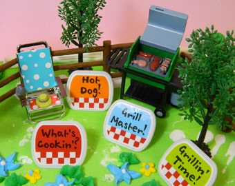 Backyard Barbecue Cake Kit / Topper / Decoration / Grill / Retro Inspired