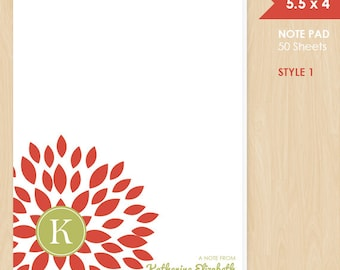 Personalized Note Pad // Red Blooming Blossom with Monogram Initial and Name // S100-7