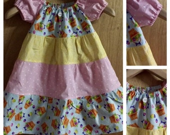 Easter Cotton Tiered Peasant Dress, size 4t