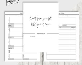 A5 Goal Planner, Printable Planner Inserts, Filofax, Kikki K, Habit tracker, Goal setting, Bucket list, Project Planner, INSTANT DOWNLOAD