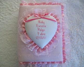 BABY GIRL Personalized Pastel Eyelet Pocket Photo Album / Brag Brag