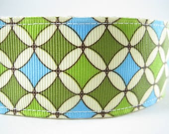 Blue and Green Circles and Diamonds extra large hemp dog collar