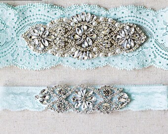 Wedding Garter Set, lace wedding garters rhinestones pearl lace rhinestone G01S-G*02S