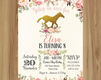 Pink and Aqua Horse Birthday Invitation/SHABBY CHIC HORSE invitation/Rocking Horse Baby Shower Invitation | HO_01