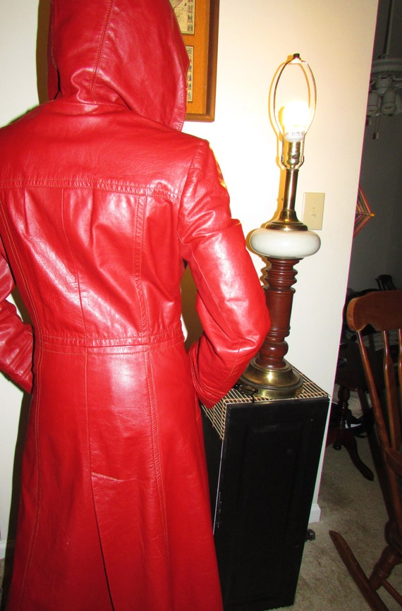 Made Leather in Length Vintage All Floor Coat Hooded Argentina HaYqYx