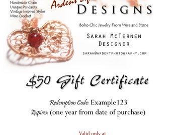 Boho Chic Art Jewelry Gift Certificate - Art Jewelry by Sarah McTernen