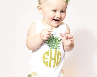 Girls Tank Top, Girls Pineapple Tank, Pineapple Tank, Girls Monogram Tank, Gold Monogram Tank, Baby Girl, Toddler Girl