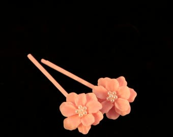 Pink Flower Bobby Pins Pink Pearl Hair Pins Flower Girl Hair Pin Baby Pink Head Pin Wedding Headpiece Pink Hair Picks Flower Head Piece Gift