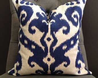 Pillow Cover, Navy Blue Ikat Pillow Cover - STELLA