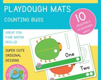 Playdough Mat - Bugs Counting
