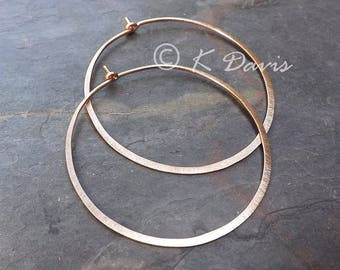 Rose Gold Hoops, Gold Hoop Earrings, Hammered Gold Filled Hoops, Brushed Finish, Choose Your Size, jewelry gift for her, womens gift