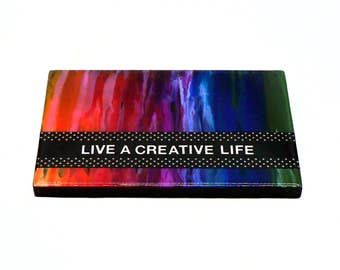 Colorful Sayings Sign - Colorful Wall Art - Colorful Wall Hanging - Live A Creative Life - Crayon Art - Bright Wall Art - Resin Wall Art