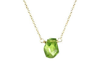 Peridot necklace - green peridot - august birthstone - healing crystal - crystal necklace - a genuine peridot on a 14k gold vermeil chain -