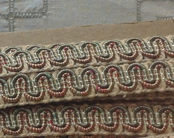 Vintage Scroll Gimp Rust and OliveGreen 3 yards - Conso Vintage Scroll Gimp Yardage - C20