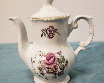 Vintage Small White Teapot with Lid, Gold Trim, Purple Pink Fuschia Flowers, Scroll Detail, 75/10