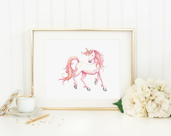 Unicorn Printable Unicorn Wall Art Nursery Unicorn Print Pink Unicorn Wall Decor Magical Nursery Art Watercolor Unicorn Girl Nursery Decor