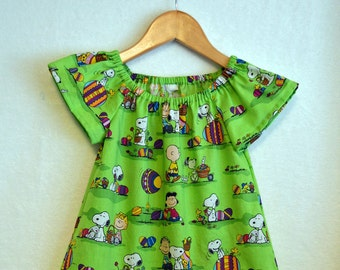 Snoopy Easter Dress, Snoopy Dress, Charlie Brown Dress, Peanuts Dress, Peasant Dress, Size 3