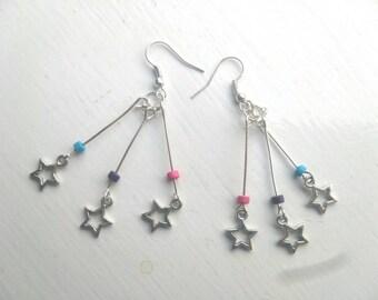 Multi coloured star burst earrings