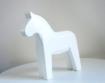 Wooden Dala Horse Decor, Scandinavian Design, Kids Room or Baby Decor, Unfinished Wood, Personalize Gift, Home Decor, Horse