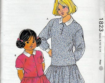 Girls Drop-waist Dresses Kwik Sew 1823 Sz 8 10 12 14 OOP Master Pattern NIP Uncut FF ©1988