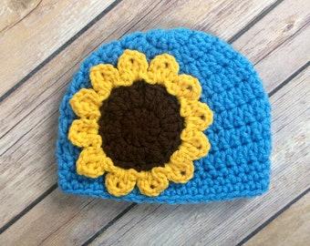 Crochet Sunflower Hat - Sunflower Beanie  - Crochet Hat with Flower - Toddler - Baby - Girl Sunflower Hat - Choose Color - Spring Hat
