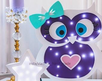 Night light OWL, baby night light, kids room decor, led night light