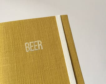 Beer Journal in Mustard Book Cloth with Elastic Strap and Ribbon Bookmark