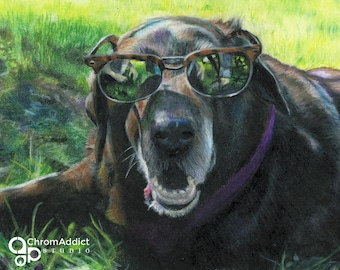 Dog Art Print - Brown Lab Art Print - Black Lab Art Print - Brown and black dog with sunglasses in the green grass - Archival Print